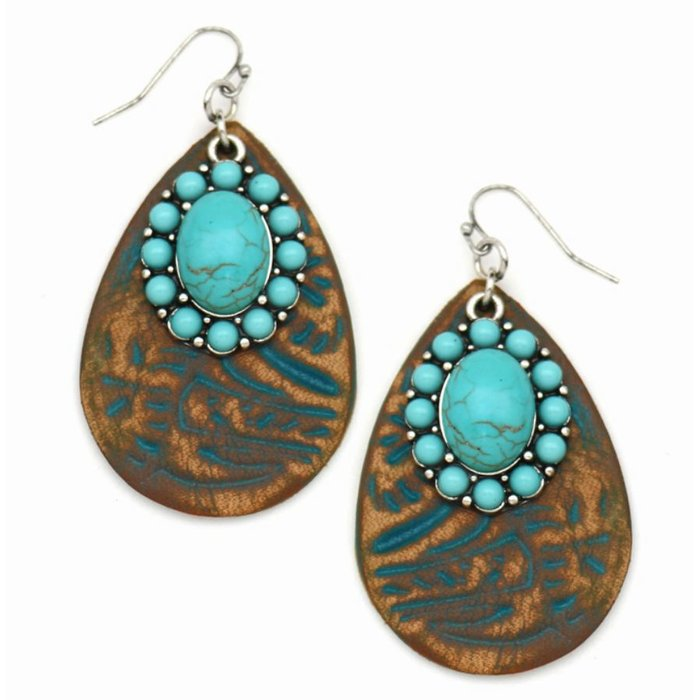 Leather Tooled Turquoise Earring