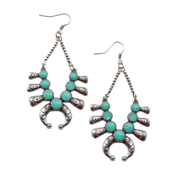 Turquoise Silver Squash Earrings