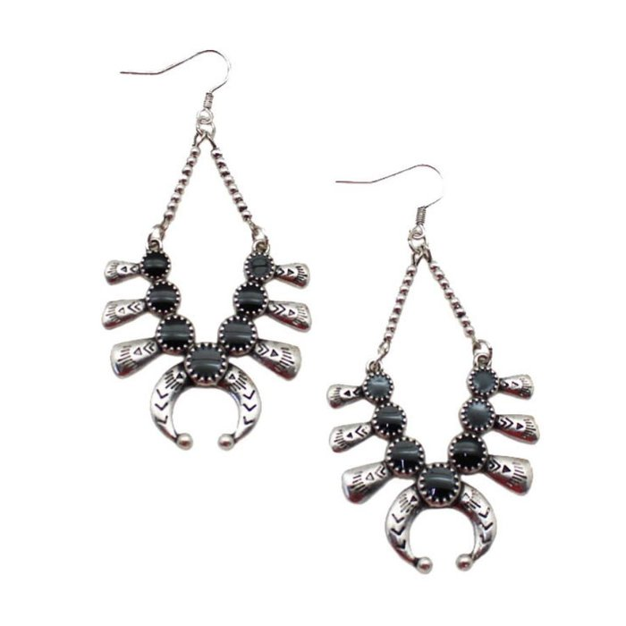 Black Silver Squash Earrings