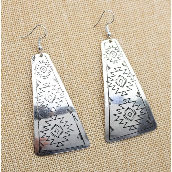 Silver Aztec Stamped Earrings