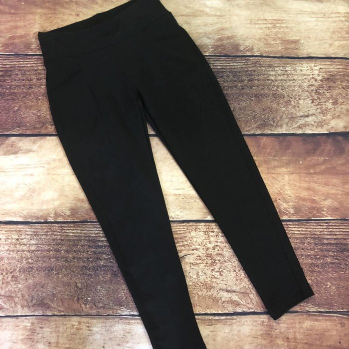 Black Front Seam Leggings with Pockets