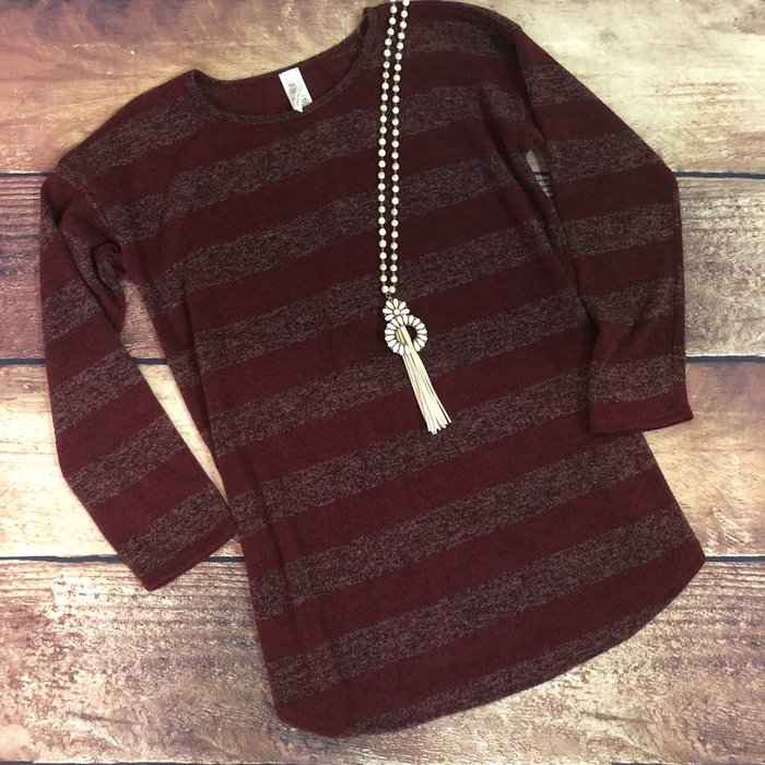 PLUS Maroon Striped Sweater