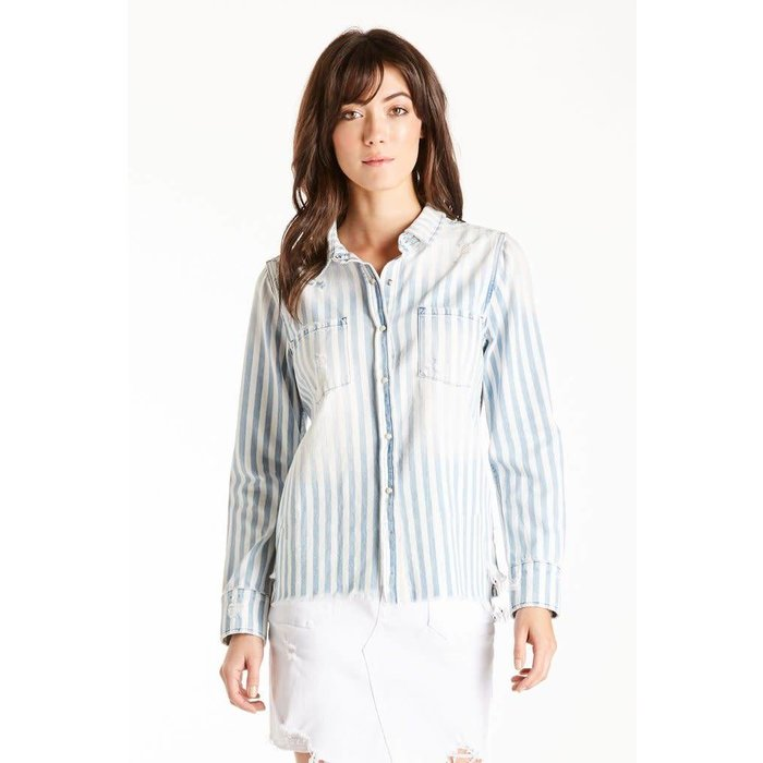 Katya Striped Frayed Embroidered Top