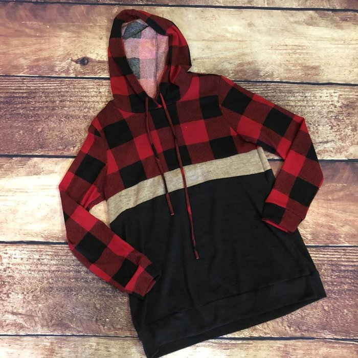 Red Buffalo Plaid Color Block Hoodie