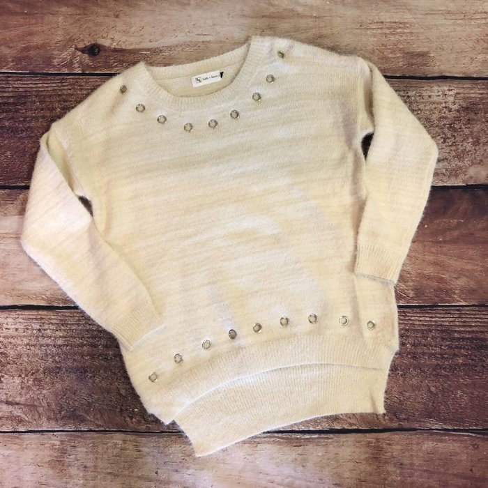 Cream Grommet Hi-Lo Sweater