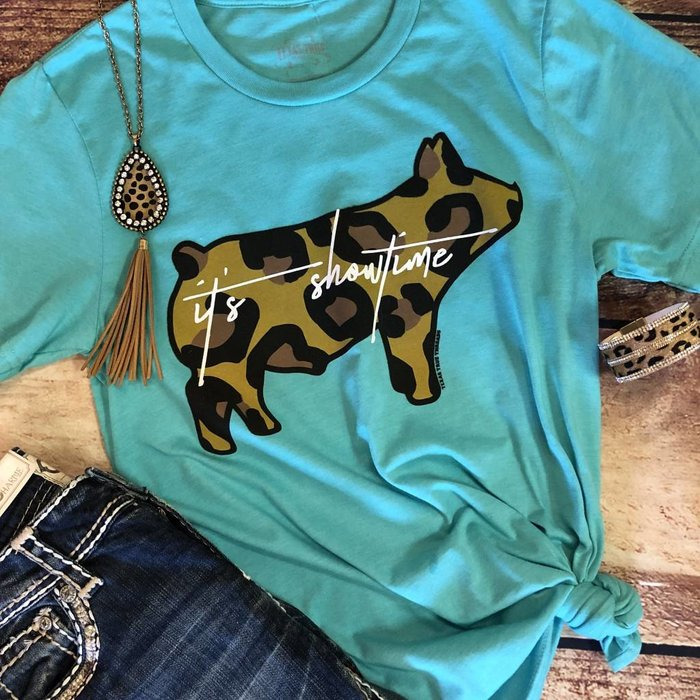 Sea Green It's Showtime Pig Graphic Tee