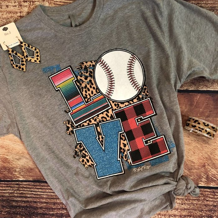 Serape Leopard Plaid Love Baseball Tee