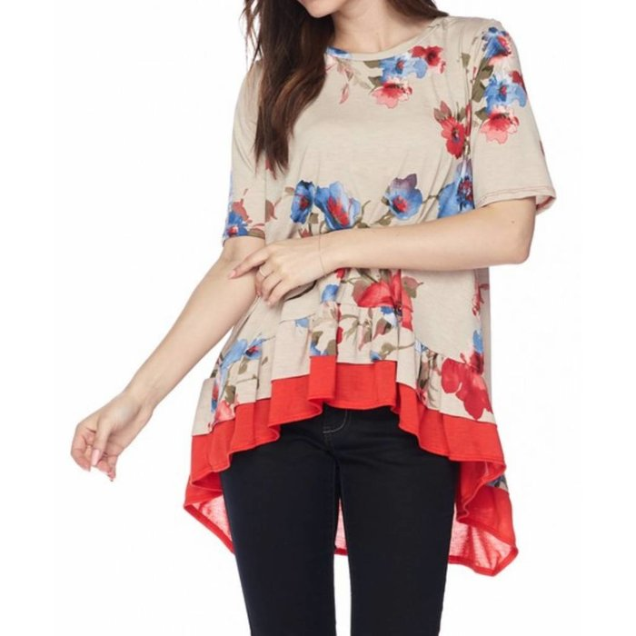 Red Trim Floral High Low Tunic