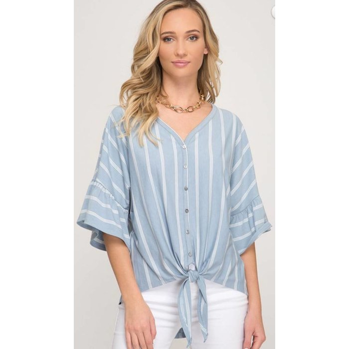 Misty Blue Striped Ruffle Sleeve Top