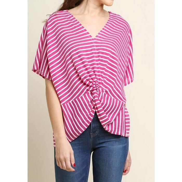 Berry Striped Short Sleeve V-Neck Top