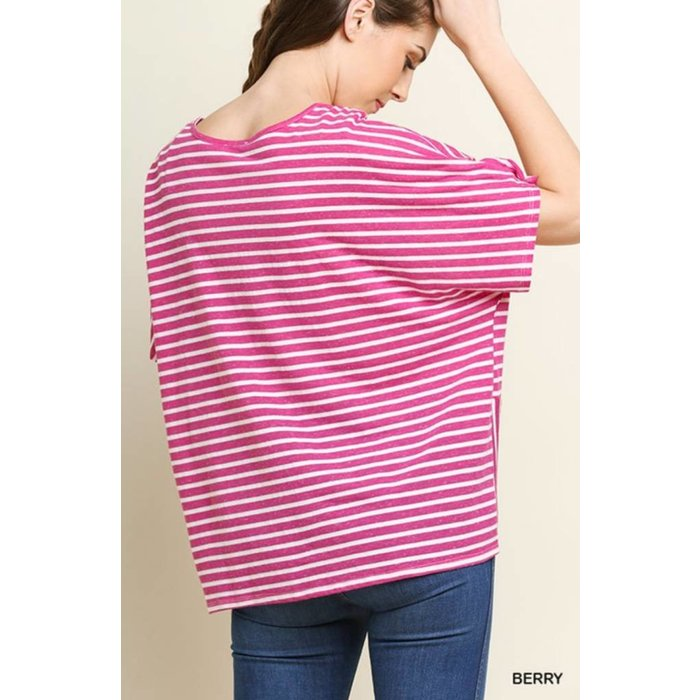 Berry Striped Short Sleeve V-Neck Top