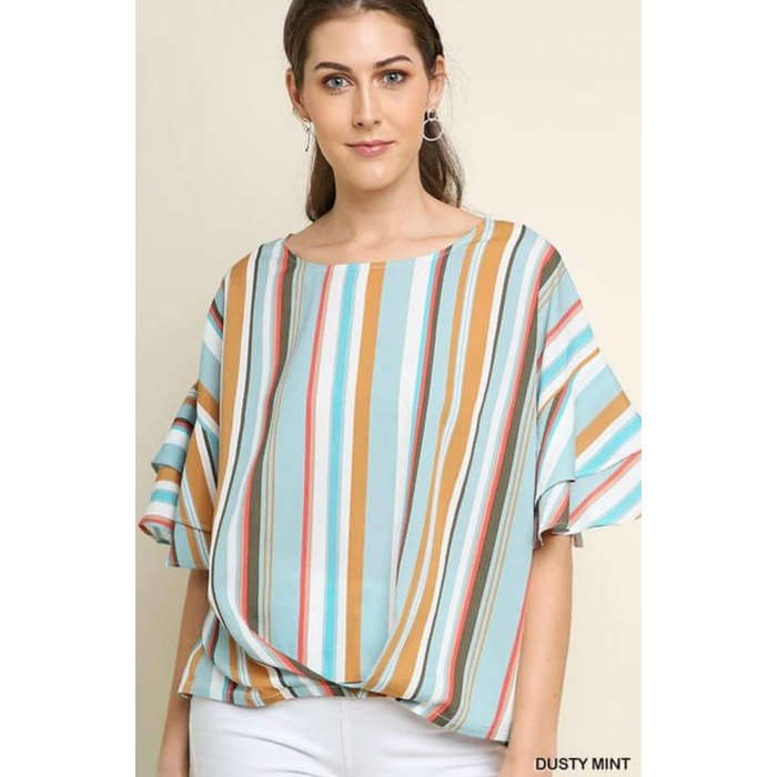 Dusty Mint Mixed Striped Twist Front Top