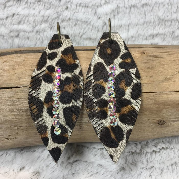 Large Leather Leopard Feather AB Earrings
