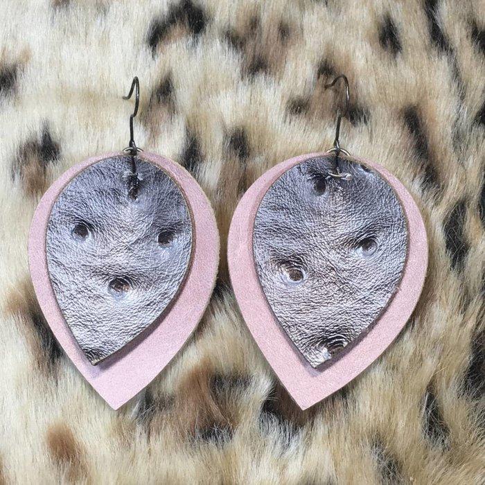 Blush Teardrop Silver Ostrich Leather Earrings