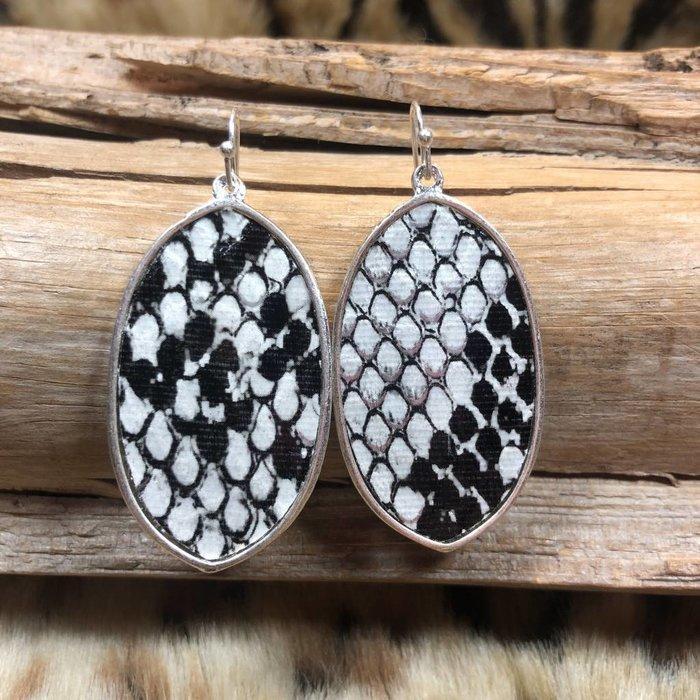 Black & White Snake Skin Oval Earrings