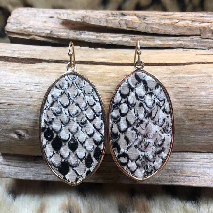 Brown Snake Skin Oval Earrings