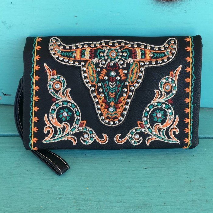 Black Longhorn Embroidered Studded Clutch Purse
