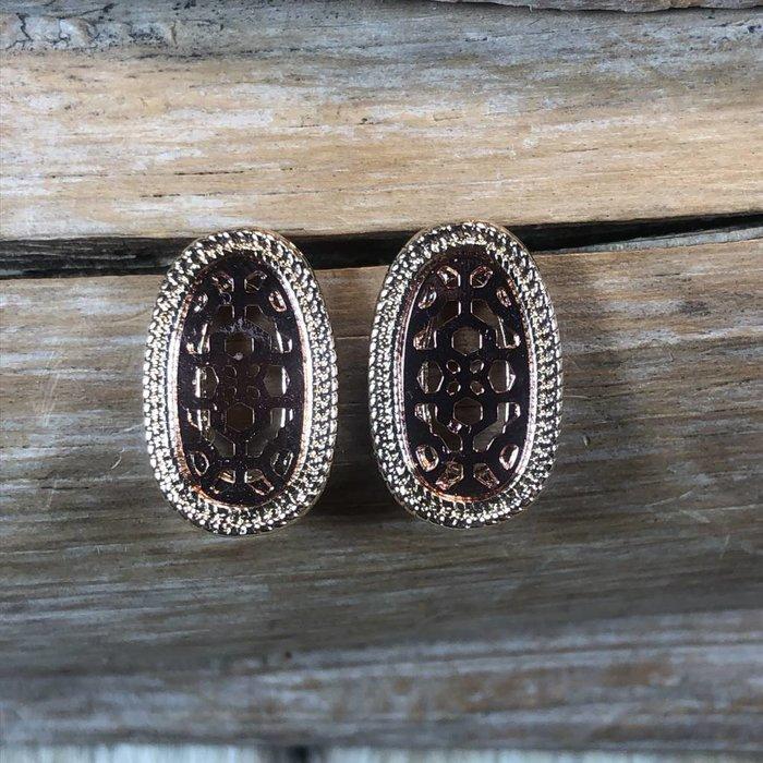 Gold Oval & Rose Gold Filgree Stud Earrings