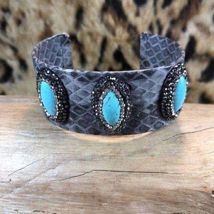 Grey Snake Skin Bracelet 3-Turquoise Pave Crystals