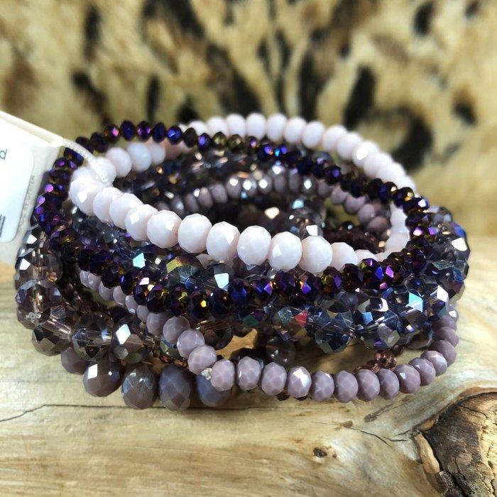 9 Strand Purple Crystal Stretch Bracelet Set
