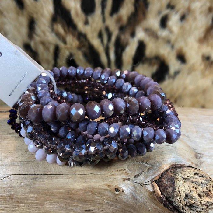 9 Strand Purple Crystal Stretch Bracelet Set