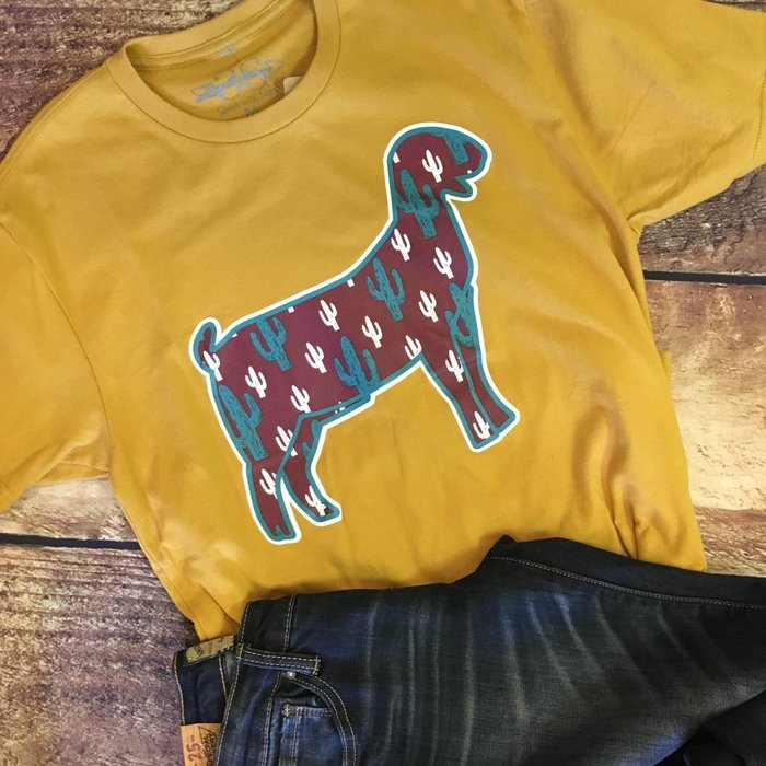 Cactus Goat Show Shirt on Mustard Tee