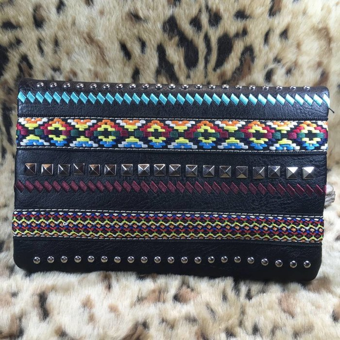 Black Multi Embroidered Studded Clutch Purse