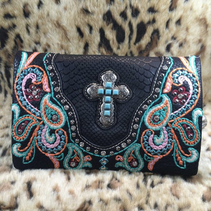 Black Concho Cross Embroidered Studded Clutch Purse