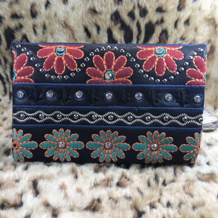 Black Studded Daisy Embroidered Clutch Purse