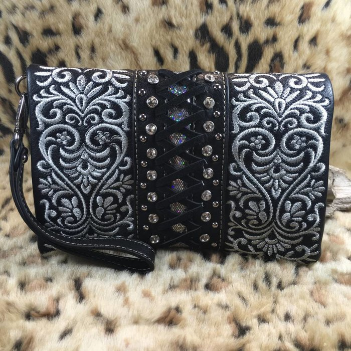 Black & White Floral Embroidered Bling Studded Clutch Purse