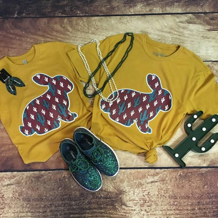 KIDS Rabbit Cactus Show Shirt on Mustard Tee