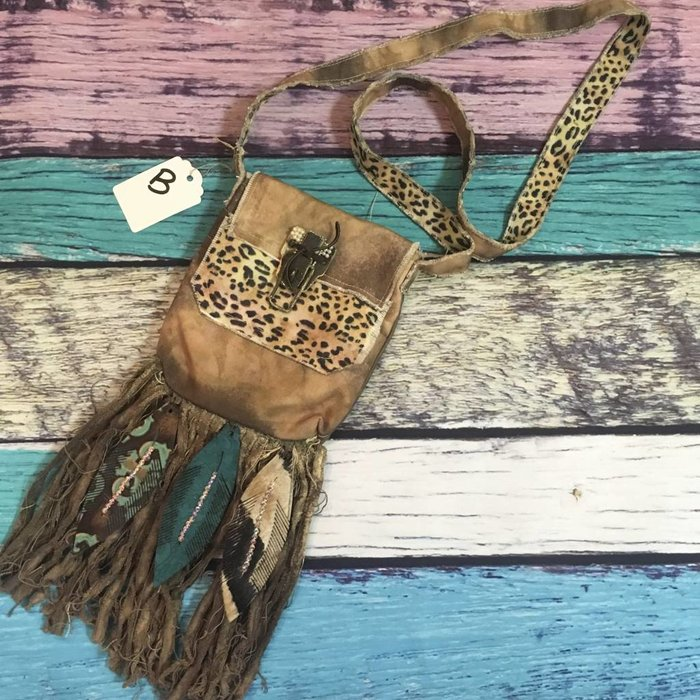 Crossbody Boho Leather Feather & Leopard Bag - B