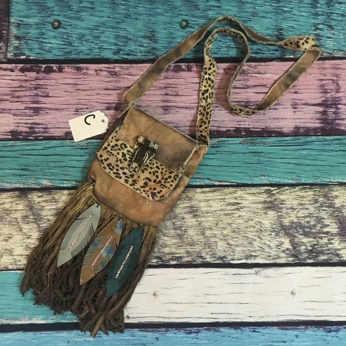 Crossbody Boho Leather Feather & Leopard Bag - C