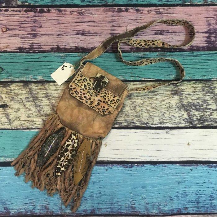 Crossbody Boho Leather Feather & Leopard Bag - E