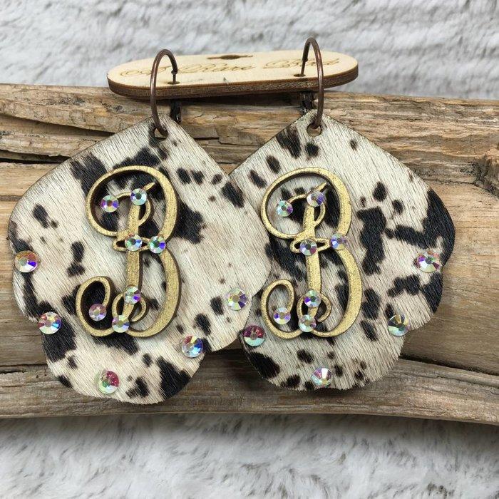 Cow Print Leather Custom Initial Earrings - B