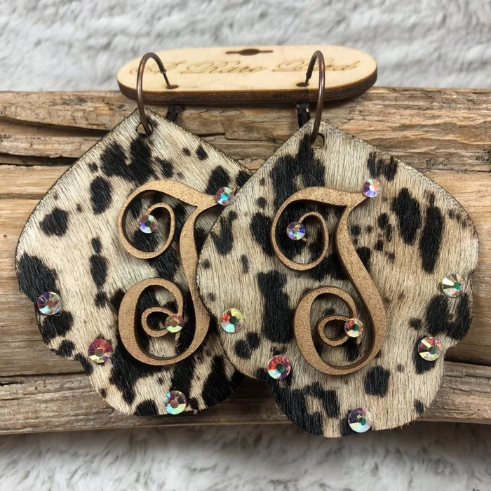 Cow Print Leather Custom Initial Earrings - T