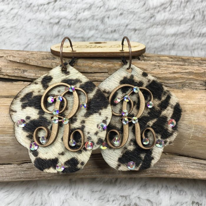 Cow Print Leather Custom Initial Earrings - R