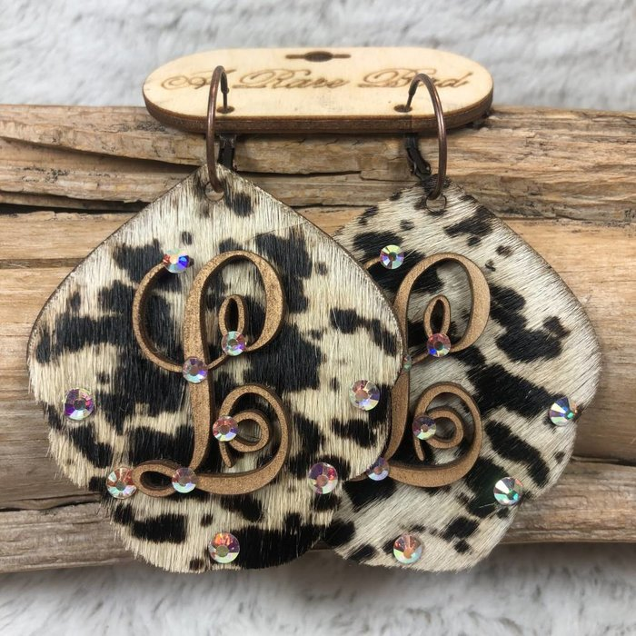 Cow Print Leather Custom Initial Earrings - L