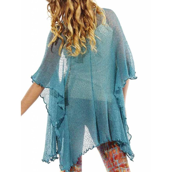 Turquoise Soul Warmer Woven Cardigan - ONE SIZE