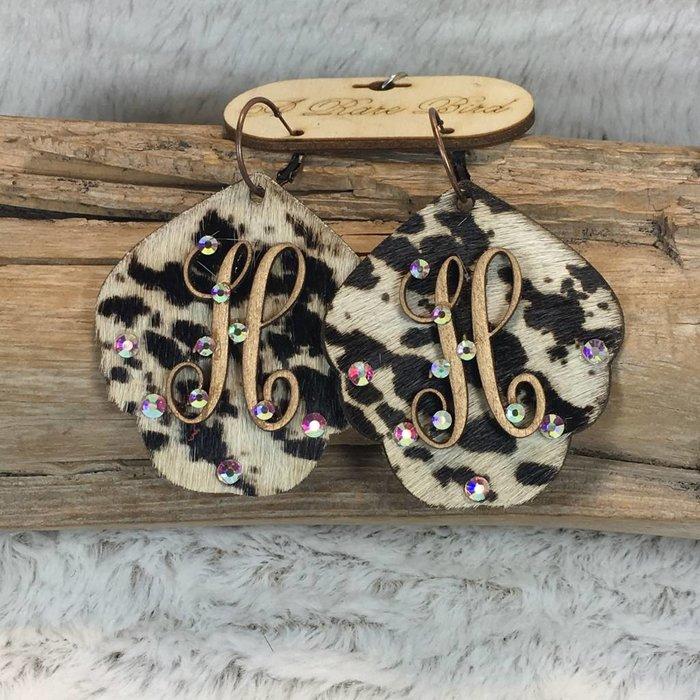 Cow Print Leather Custom Initial Earrings - H