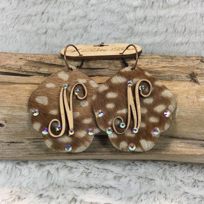 Axis Deer Leather Custom Initial Earrings - N