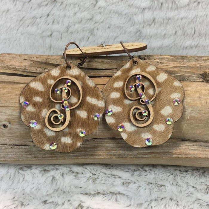 Axis Deer Leather Custom Initial Earrings - P