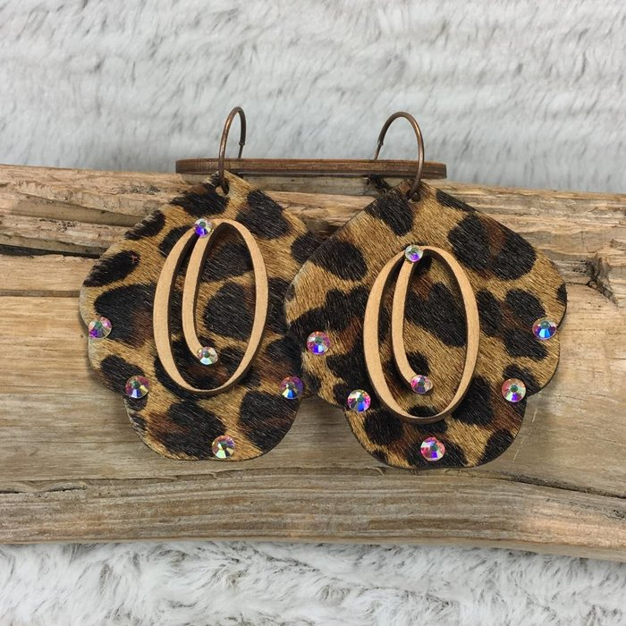 Leopard Leather Custom Initial Earrings - O