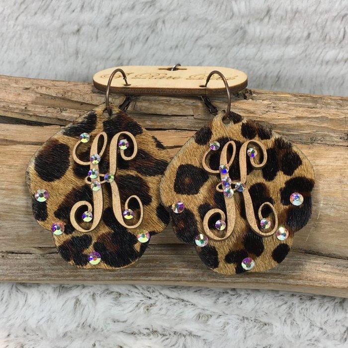 Leopard Leather Custom Initial Earrings - K