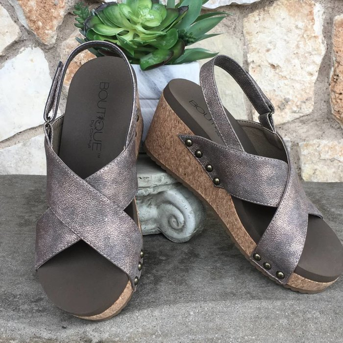 Teresa - Bronze Wedge Shoes