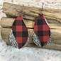 2 Layer Silver Glitter and Buffalo Plaid Earrings