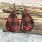 2 Layer Red Glitter and Buffalo Plaid Earrings