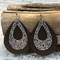 Bronze & Silver Glitter Faux Leather Earring