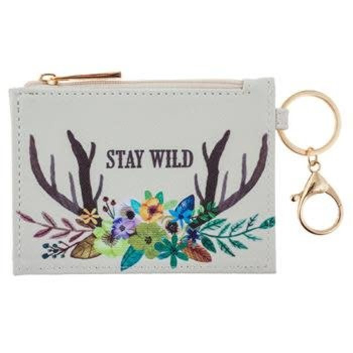 Stay Wild Deer Zip ID Case