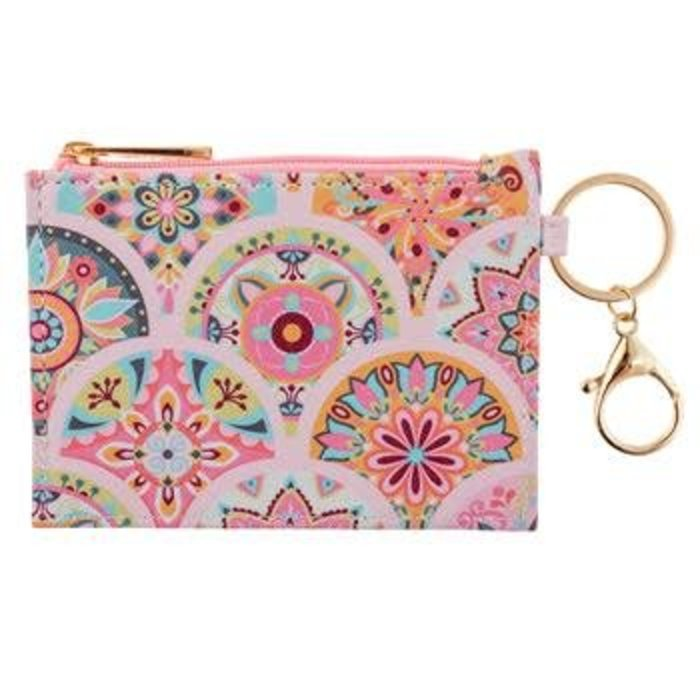 Pink Medallion Zip ID Case